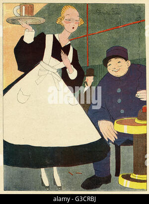 Cartoon, Waitress, showing a pretty young woman in a white apron serving a beer to a French soldier in uniform. - Stock Photo