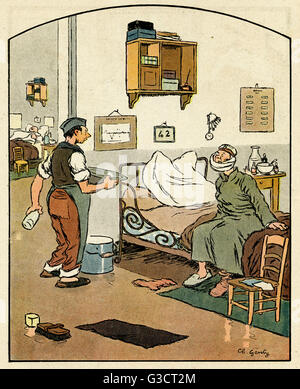 Cartoon, On the eve of repatriation.  A German patient in a French hospital asks an orderly if he will be ok with - Stock Photo