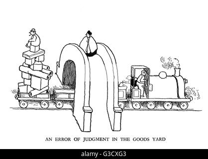Vignette illustration, Railway Ribaldry by W Heath Robinson -- An error of judgment in the goods yard.      Date: - Stock Photo
