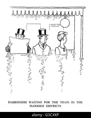 Vignette illustration, Railway Ribaldry by W Heath Robinson -- Passengers waiting for the train in the flooded districts. - Stock Photo