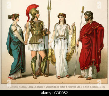 Ancient Greece costume, wearing chiton, warrior with armour and helmet, white peplum tunic and himation robe.   - Stock Photo