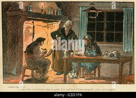 Cartoon, Looking after the land.  A young soldier on leave sits by the fire with his parents.  They tell him that - Stock Photo