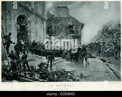 Battle of Bourget, Franco-Prussian War or Franco-German War (1870 -1871), Prussian Guards with Prisoners of War - Stock Photo