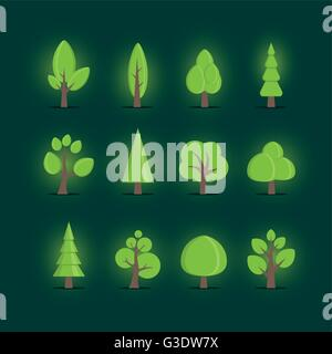 Vector various tree collection. Elements are layered separately in vector file. Global colors. - Stock Photo
