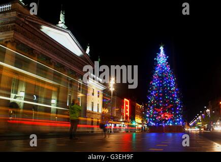 O'Connell Street in Dublin decorated on a Christmas evening, Ireland - Stock Photo