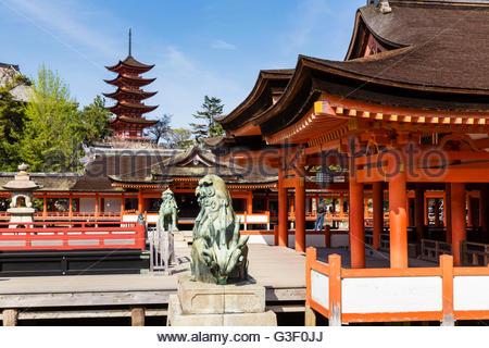 Itsukushima jinja Shinto Shrine and Tahoto pagoda, UNESCO World Heritage site, island Miyajima, Chugoku region, - Stock Photo