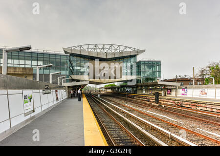 Queens, New York - May 31, 2016: Howard Beach-JFK Subway station in Queens, New York. - Stock Photo
