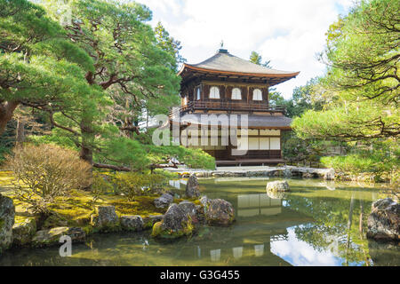 Kyoto,Japan - December 31, 2015: The Buddhist temple Ginkaku-ji is the symbol of Kyoto and one of the most famous - Stock Photo