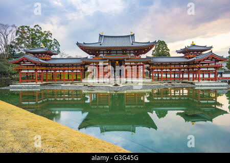 Kyoto, Japan - December 31, 2015: The Byodo-in Buddhist temple, a UNESCO World Heritage Site is a Buddhist temple - Stock Photo