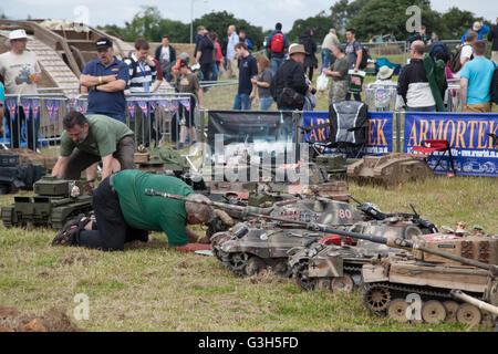 Bovington, Dorset, UK. 25th June 2016. Tankfest military show.  Model remote control tanks on demonstartion at the - Stock Photo