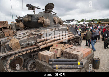 Bovington, Dorset, UK. 25th June 2016. Tankfest military show.  American Sherman M4A2E8 (FURY) tank featured in - Stock Photo