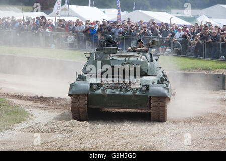 Bovington, Dorset, UK. 25th June 2016. Tankfest military show. Leopard1 tank in the Tankfest show arena with crowd. - Stock Photo