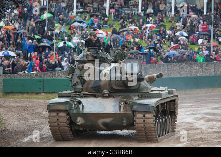Bovington, Dorset, UK. 25th June 2016. Tankfest military show. American M60 tank in main arena, during frequent - Stock Photo