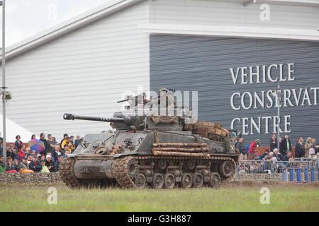 Bovington, Dorset, UK. 25th June 2016. Tankfest military show. American Sherman M4A2E8 (FURY) tank featured in the - Stock Photo