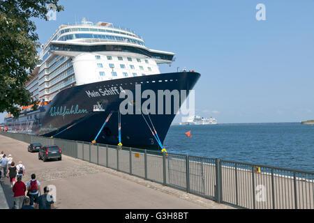 Copenhagen Harbour, Denmark. 25th June, 2016. MS Mein Schiff 4 at Langelinie. In background the new cruise liner - Stock Photo