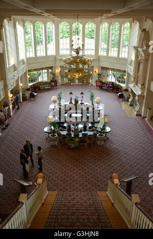 The grand lobby of the Disneyland Hotel in Paris. - Stock Photo