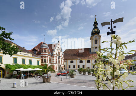 Main square with town hall and parish church of St. Martin, Austria, Steiermark, Styria, Steirisches Thermenland - Stock Photo