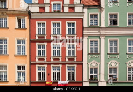 Colourful facades of town houses on Rynek, market square, in Wroclaw, Lower Silesia, Poland, Europe - Stock Photo