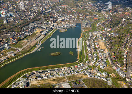 Aerial view, Phoenix Lake is an artificial lake on the former steelworks site Phoenix East in the Dortmund district - Stock Photo
