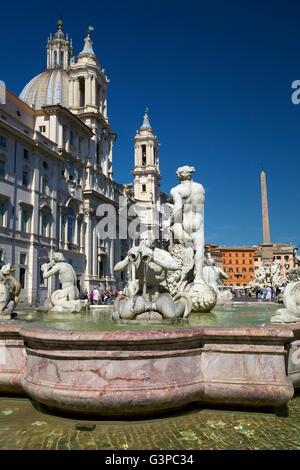 Moor Fountain, Fontana del Moro, Piazza Navona,  Rome, Italy, Europe - Stock Photo