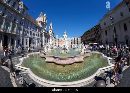 Fontana del Moro, Fountain of the Moor, Piazza Navona, Rome, Italy, Europe - Stock Photo