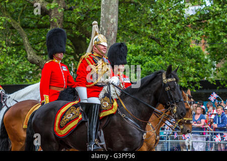 Field Marshall Lord Guthrie on horseback riding down the Mall at The Queens Birthday Parade also known as Trooping - Stock Photo