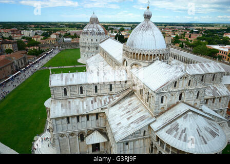 Cathedral and Baptistery viewed from the leaning tower. Pisa, Tuscany, Italy, Europe - Stock Photo