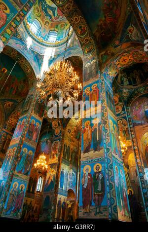 Saint Petersburg Russia. Russian Orthodox Church of the Saviour on Spilled Blood. Interior mosaics beneath the central - Stock Photo
