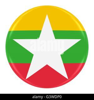 Burmese Flag Badge - Flag of Myanmar (Burma) Button Isolated on White - Stock Photo
