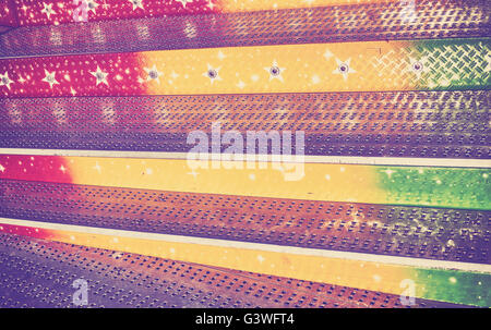 Vintage toned abstract grungy background made of metal stairs. - Stock Photo