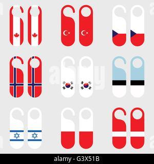 Set of flag door hanger vector illustration - Stock Photo
