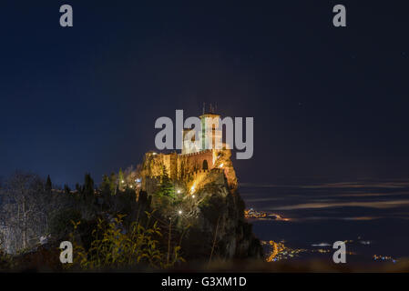 a night view of san marino castle - Stock Photo