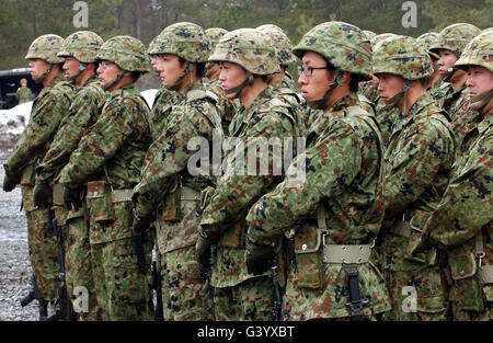 Soldiers from the Japan Ground Self Defense Force perform a rifle salute. - Stock Photo
