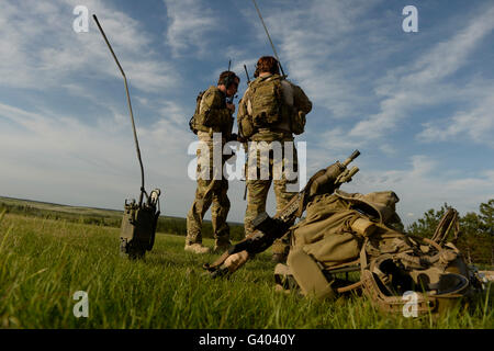 U.S. Air Force combat controllers prepare the range for a live-fire mission. - Stock Photo