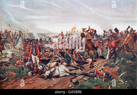 The Battle of Waterloo, Belgium, 18 June 1815.  French Cuirassiers charging a British square. After the painting - Stock Photo