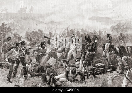 The Battle of Waterloo, Belgium, 18 June 1815.  French and English soldiers fighting hand to hand. - Stock Photo
