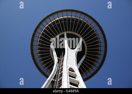 SEATTLE - JULY 22: A view from below the Space Needle in Seattle, Washington, on July 22, 2010. The 605 ft structure - Stock Photo