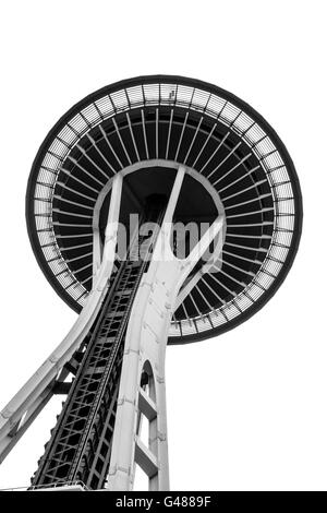 View from below the Space Needle in Seattle, Washington. - Stock Photo