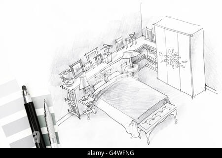bedroom interior graphical sketch drawn by pen - Stock Photo