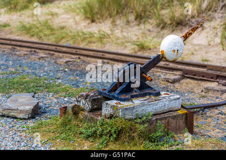 Fairbourne and Barmouth Steam railway, West Wales, UK, Barmouth Bay to the south of the estuary of the River Mawddach - Stock Photo