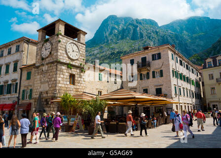 Trg od Oruzja, Square of Arms, with Town Clock Tower, Stari grad, old town, Kotor, Montenegro - Stock Photo