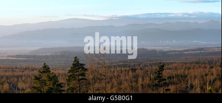 Morning misty country scenery. View on foothills of Tatra Mountains in Slovakia. - Stock Photo