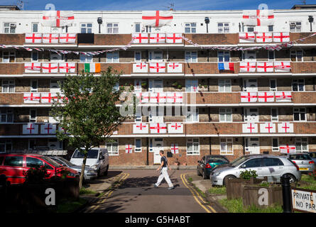 An estate covered with England flags for the Euro 2016 championships.England play Iceland for a place in the last - Stock Photo