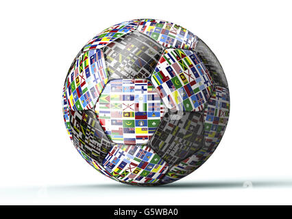 soccer ball with all flags of the world isolated on white , 3d illustration - Stock Photo