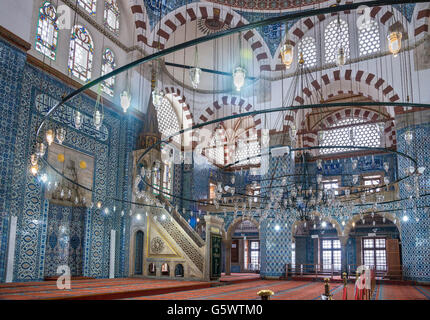 Interior of the 16th cen. Rustem Pasha Mosque, Tahtakale, Istanbul, Turkey - Stock Photo