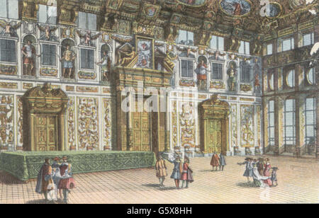 geography / travel, Germany, Augsburg, buildings, city hall, interior view, golden hall, circa 1700, art postcard, - Stock Photo
