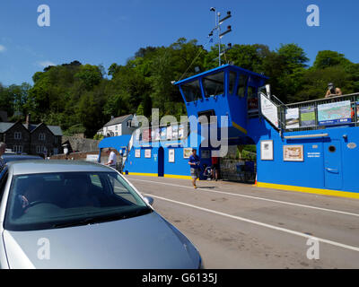 A car on the King Harry ferry before the River Fal between Feock and Philleigh, Cornwall. - Stock Photo