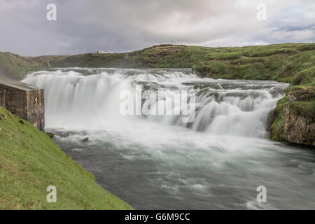 Wasserfall in Island, Waterfall Iceland, Godafoss - Stock Photo