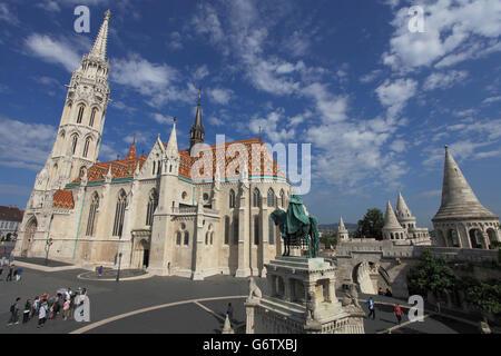 Hungary, Budapest, Matthias Church, exterior, Fishermen's Bastion, - Stock Photo