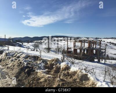 War ruins in Bosnia during Winter - Stock Photo